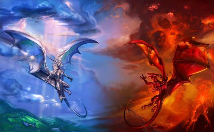 Dragons, bleu, rouge, air, feu, volcan, nuages, nuages, lave