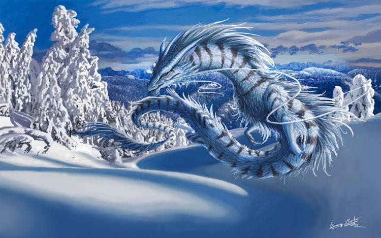 dragon, hiver, neige, paysage